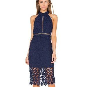 Bardot Gemma Halter Lace Dress Navy Blue NEW